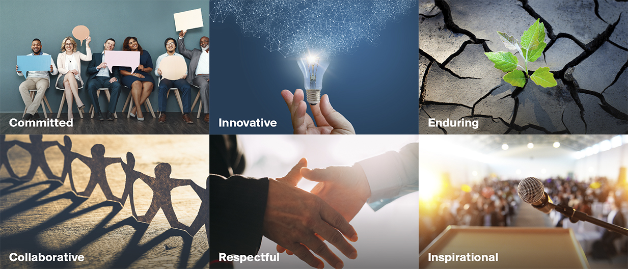 Knight Frank's values are Committed, Innovative, Enduring, Collaborative, Respectful and Inspirational.