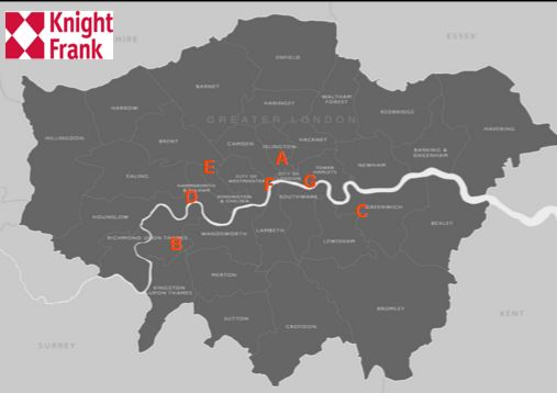 Knight Frank London offices map
